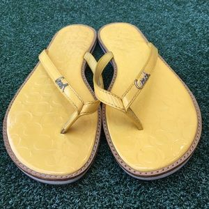 Coach Patent Leather Flip Flop Thong Sandal Yellow